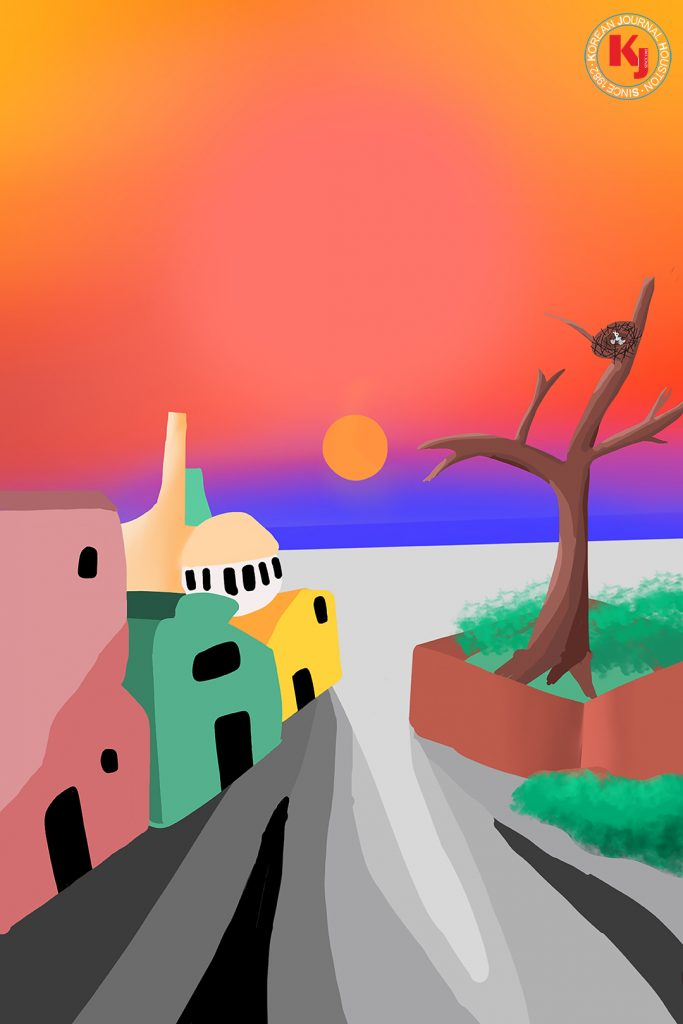 """""""SANTA FE IN SUNSET""""  by  Eden Suh7th Grade   Stafford Middle School"""