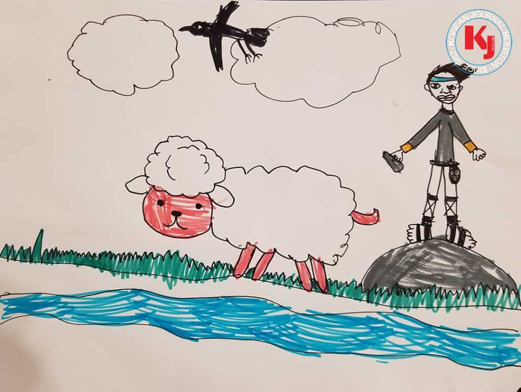 """""""DAVID AND A SHEEP""""  by  Eunmin Lee1st Grade   Roberts Elementary School"""